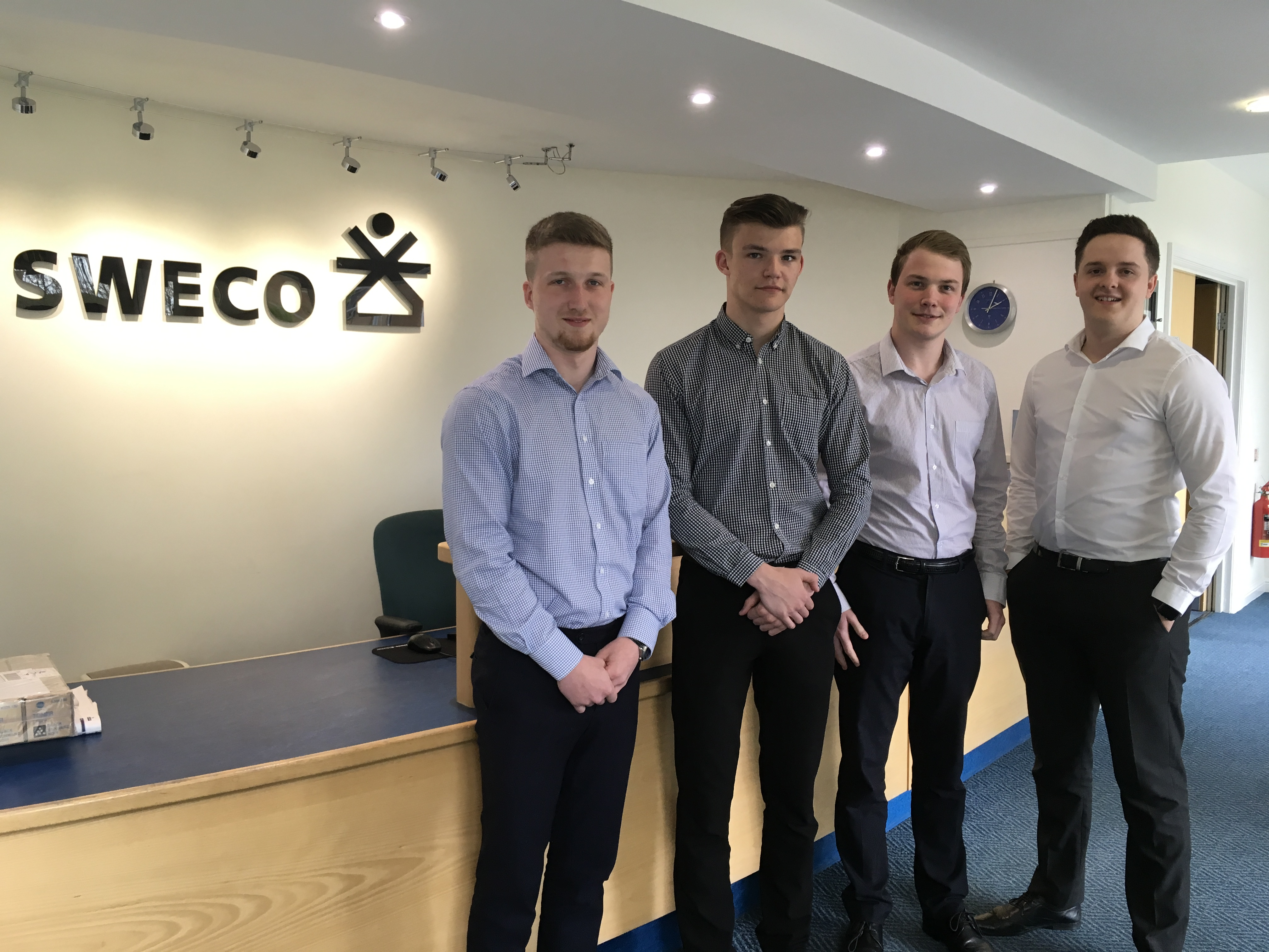 Sweco apprentices, Jack, Louis, Jordan and Connor